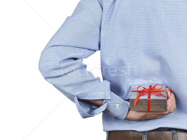 Meglepetés fiatalember rejtőzködik ajándék doboz mögött hát Stock fotó © antonprado