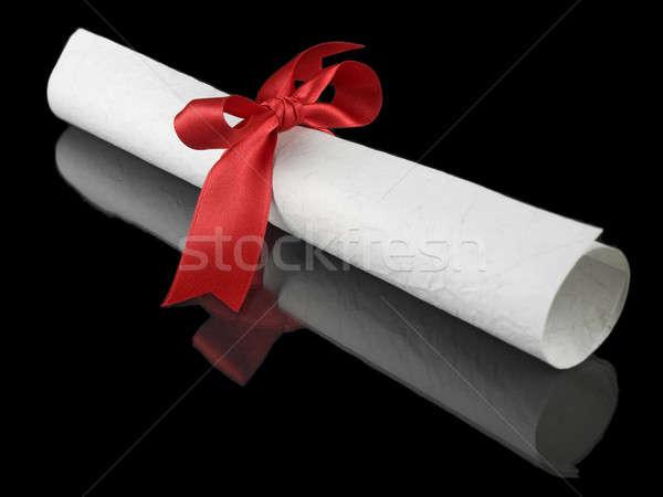 Dyplom czerwony jedwabiu wstążka odizolowany Zdjęcia stock © antonprado