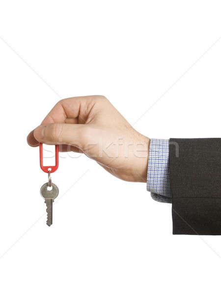 Negócio mão vermelho etiqueta chave Foto stock © antonprado