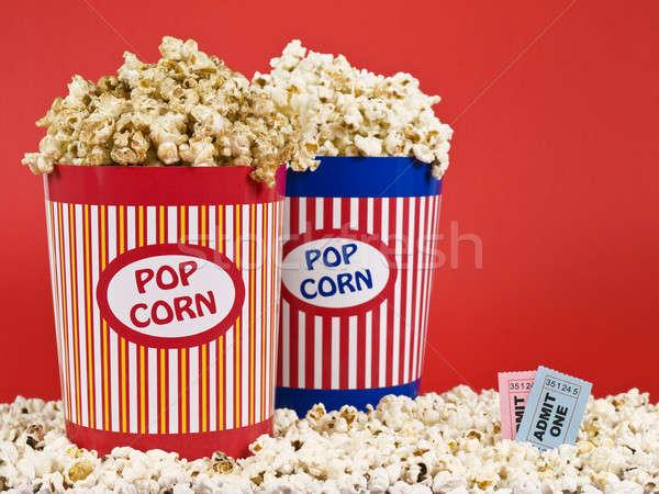 Kettő pattogatott kukorica doboz kék jókedv színház Stock fotó © antonprado