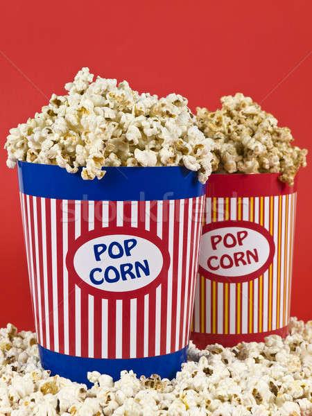 Dwa popcorn polu niebieski zabawy teatr Zdjęcia stock © antonprado