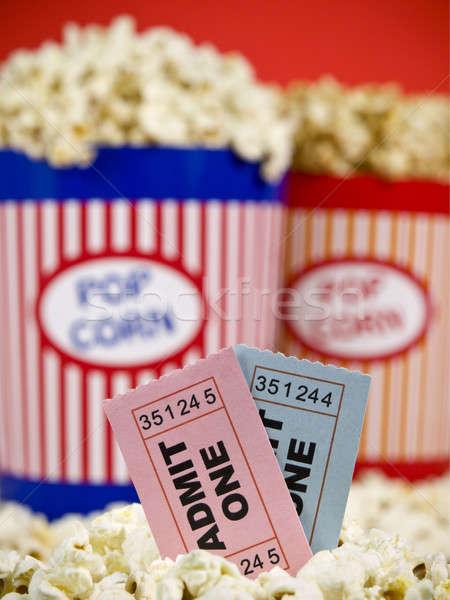 Stok fotoğraf: Bilet · eğlence · iki · patlamış · mısır · kırmızı · film