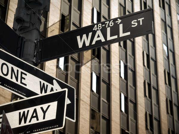 Wall Street знак Manhattan Нью-Йорк бизнеса здании Сток-фото © antonprado