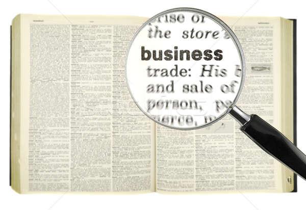 Dicionário pesquisar lupa palavra negócio livro Foto stock © antonprado