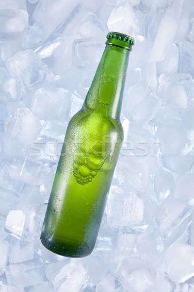 Сток-фото: один · холодно · пива · зеленый · бутылку · льда