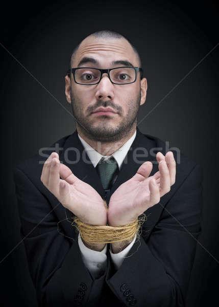 Intrigado empresário homem terno mãos negócio Foto stock © antonprado