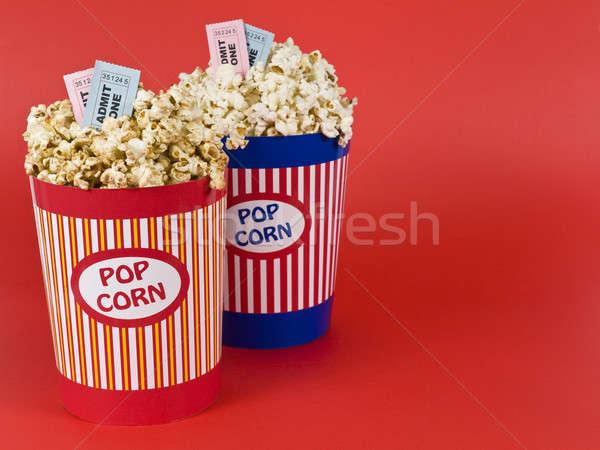 Quatro filmes dois pipoca vermelho filme Foto stock © antonprado
