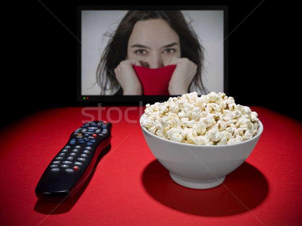 фильмы домой попкорн чаши пультом широкий Сток-фото © antonprado