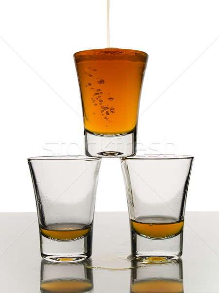Trzy whisky shot inny dwa pusty Zdjęcia stock © antonprado