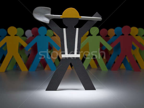 Paper men at work Stock photo © antonprado