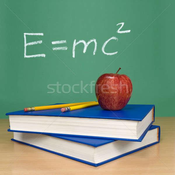 Teori formül kara tahta kitaplar kalemler elma Stok fotoğraf © antonprado