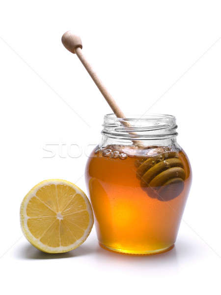 Foto stock: Mel · jarra · limão · isolado · branco