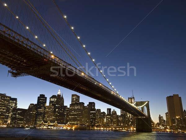 Brooklyn bridge at dusk Stock photo © antonprado