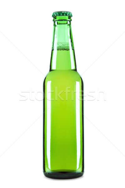 Jeden piwa zielone butelki odizolowany biały Zdjęcia stock © antonprado