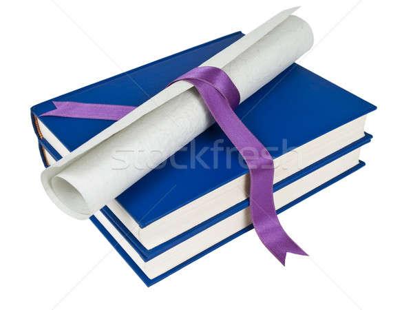 Livros diploma violeta fita azul isolado Foto stock © antonprado