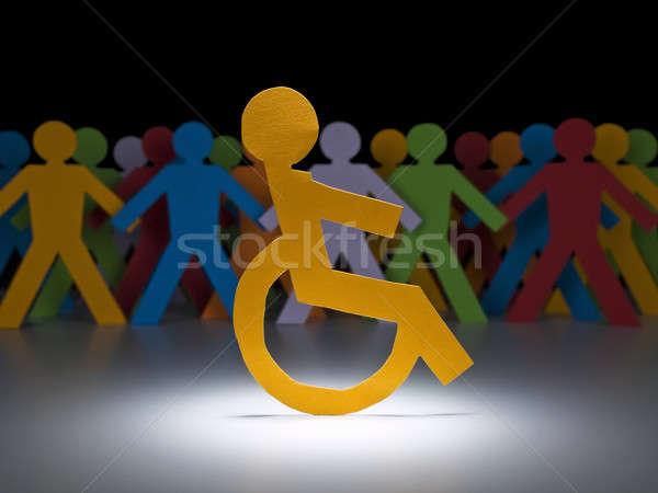 Deaktiviert Papier Figur Rampenlicht Rollstuhl Gruppe Stock foto © antonprado