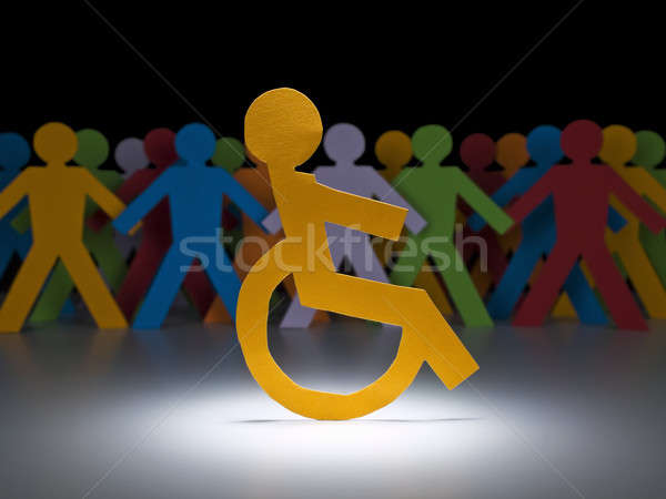 инвалидов бумаги Рисунок Spotlight коляске группа Сток-фото © antonprado