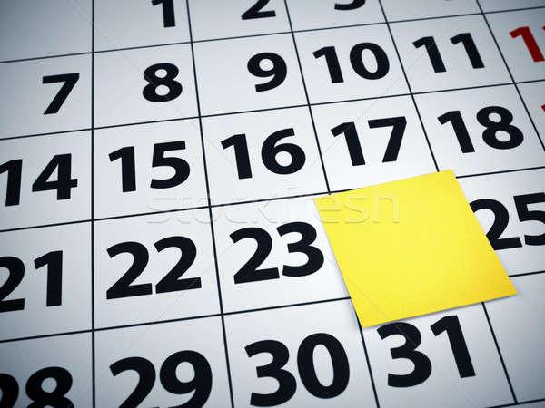 Stock photo: Blank sticky note on a calendar