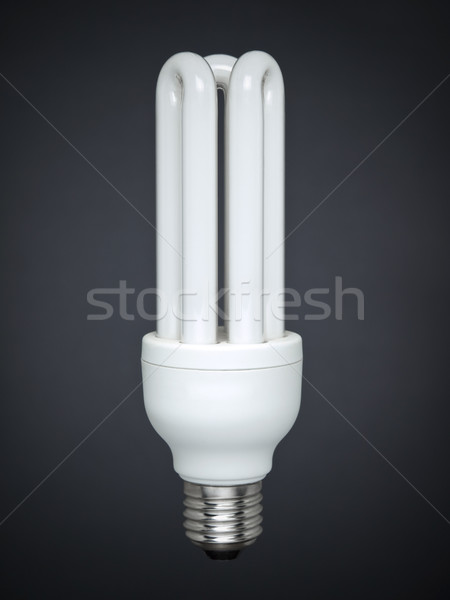 Fluorescent light bulb over gray Stock photo © antonprado
