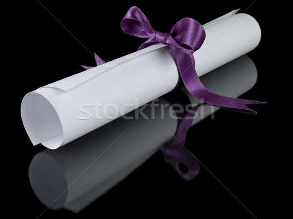 Diploma with violet ribbon Stock photo © antonprado