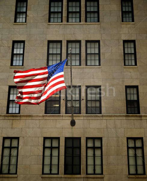 Amerikai zászló integet homlokzat épület üzlet csillagok Stock fotó © antonprado