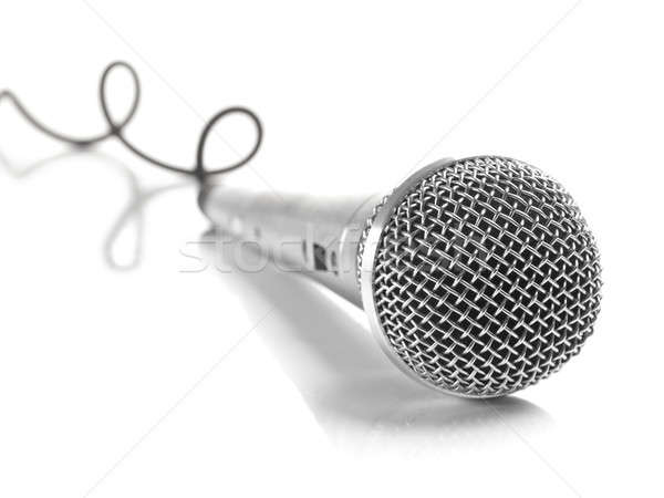 Stock photo: Mic with curled cable