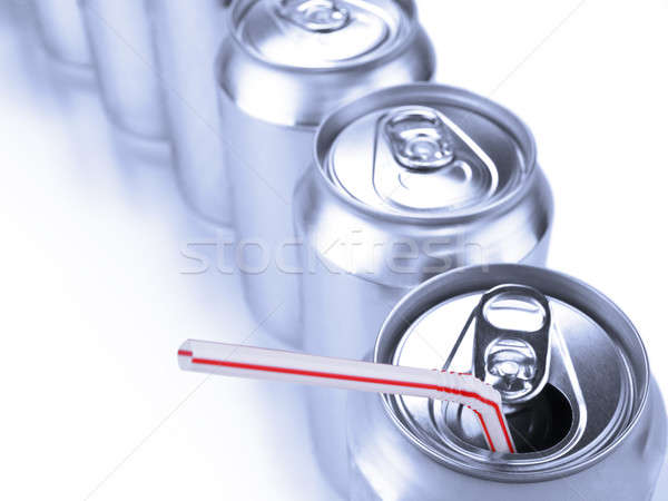 Soda cans and straw Stock photo © antonprado
