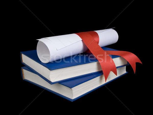 Libri diploma blu nero colore Foto d'archivio © antonprado