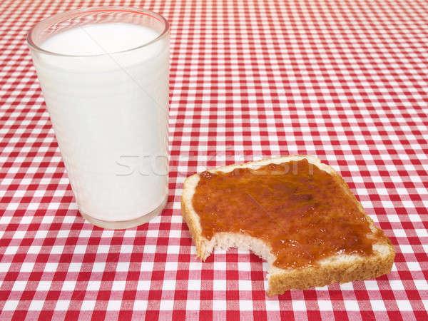Falat engem üveg tej pirítós lekvár Stock fotó © antonprado
