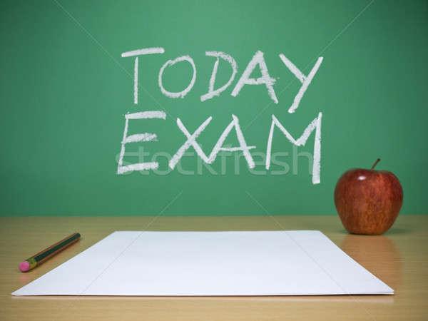 Ma vizsga ceruza alma asztal írott Stock fotó © antonprado