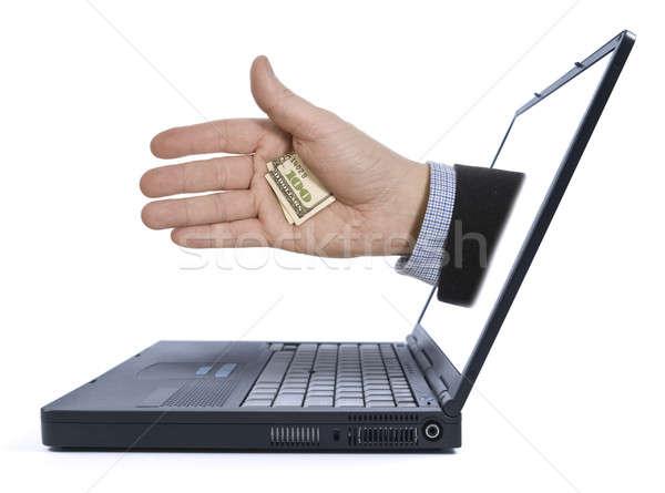 Verborgen tip hand laptop scherm business Stockfoto © antonprado