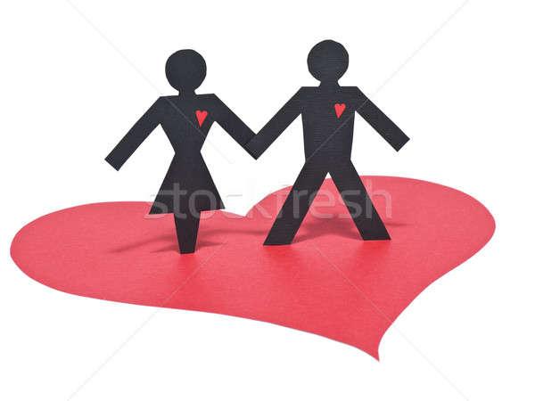 Papír szeretet pár kéz a kézben piros szív Stock fotó © antonprado