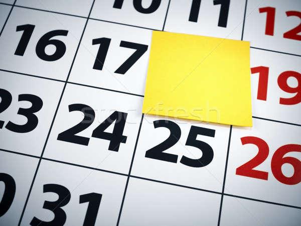 Nota adesiva calendario rosso nero bianco Foto d'archivio © antonprado