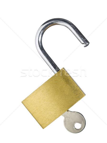 Bloqueo clave abierto aislado blanco industrial Foto stock © antonprado