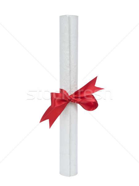 Stockfoto: Diploma · witte · geïsoleerd · papier · Rood