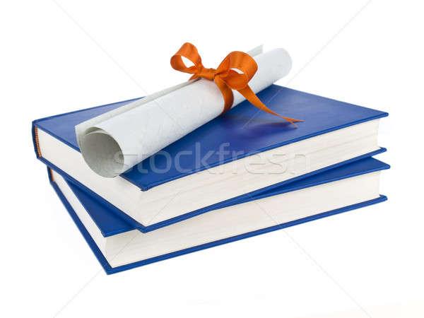 Stockfoto: Boeken · diploma · oranje · lint · Blauw · geïsoleerd