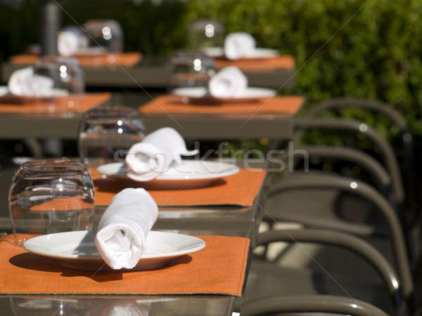 Nyár ebéd brunch étterem szett felfelé Stock fotó © antonprado