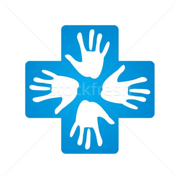 знак Рука помощи медицинской крест медицина синий Сток-фото © antoshkaforever