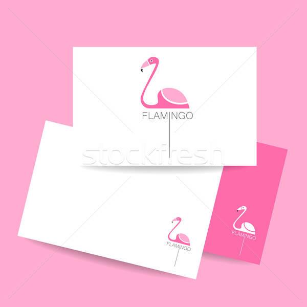 Flamingo kuş imzalamak logo kimlik kartı pembe Stok fotoğraf © antoshkaforever