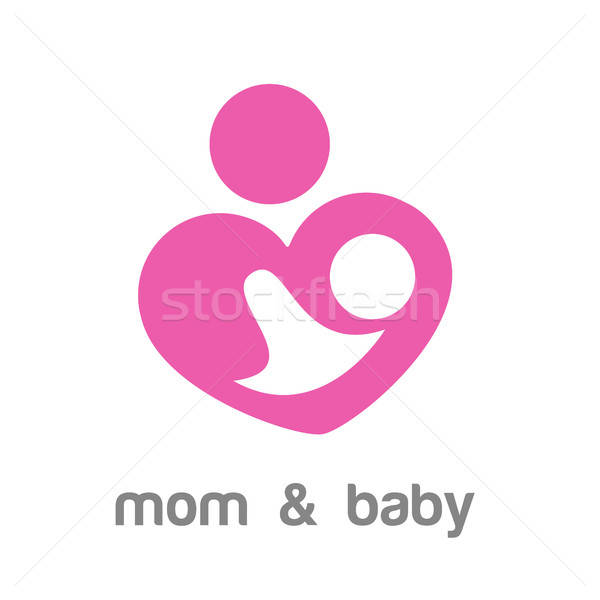 Foto stock: Mamá · bebé · logo · identidad · plantilla · madres