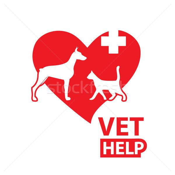 Felirat állatorvosi megkönnyebbülés szolgáltatások kutya macska Stock fotó © antoshkaforever