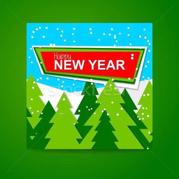 Feliz ano novo bandeira ano novo modelo de design vetor floresta Foto stock © antoshkaforever