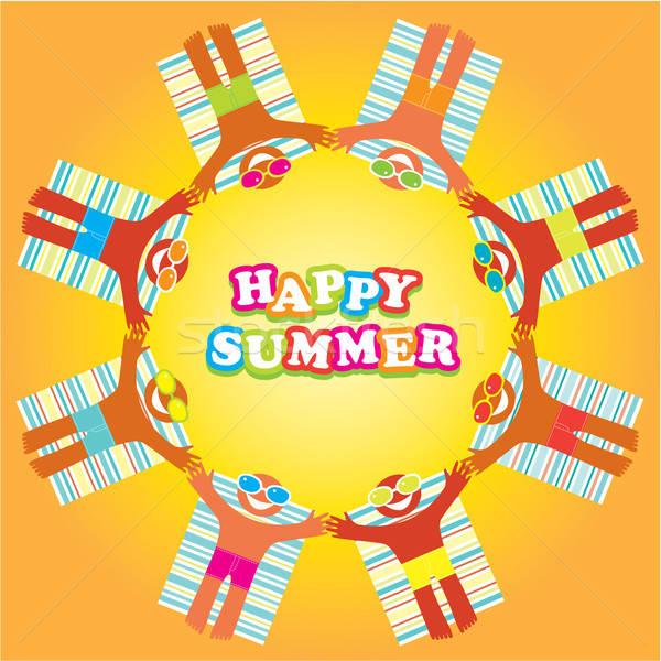 快樂 夏天 插圖 設計 海灘 假期 商業照片 © antoshkaforever