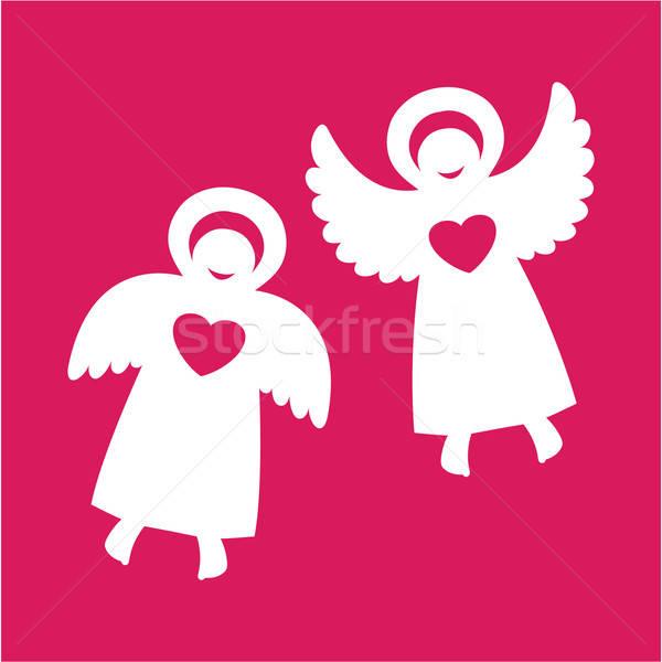 Angyalok kettő szívek piros baba mosoly Stock fotó © antoshkaforever