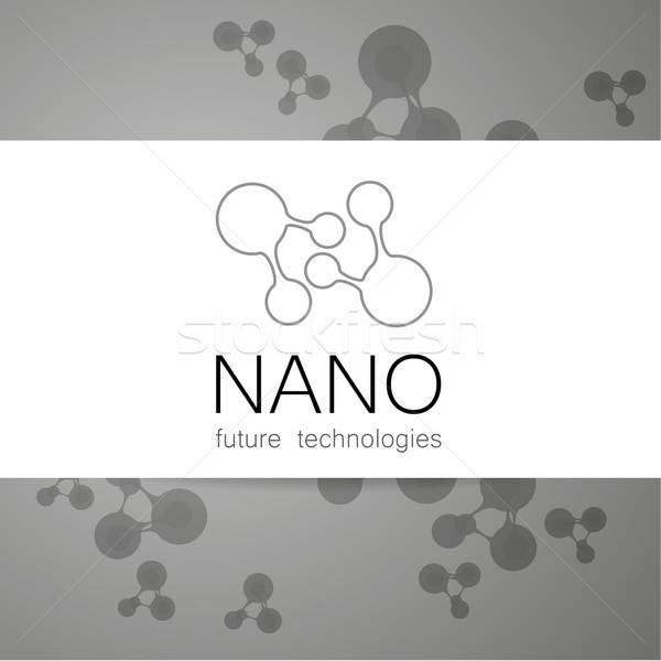 Nano logo nanoteknoloji şablon dizayn vektör Stok fotoğraf © antoshkaforever