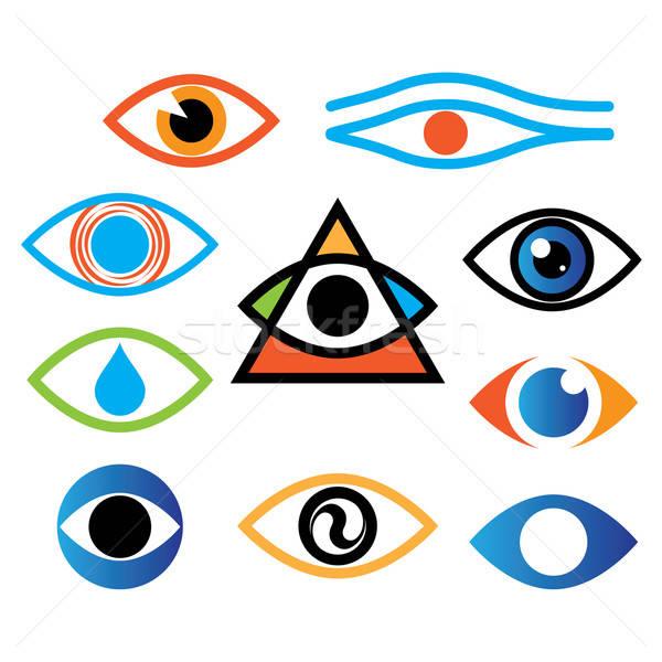 Gyűjtemény ikonok szem optika lencse üzlet Stock fotó © antoshkaforever