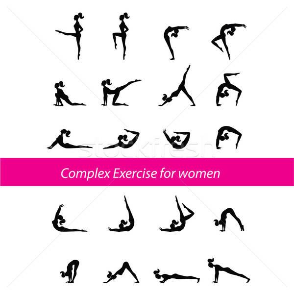 összetett testmozgás nők nő sport terv Stock fotó © antoshkaforever