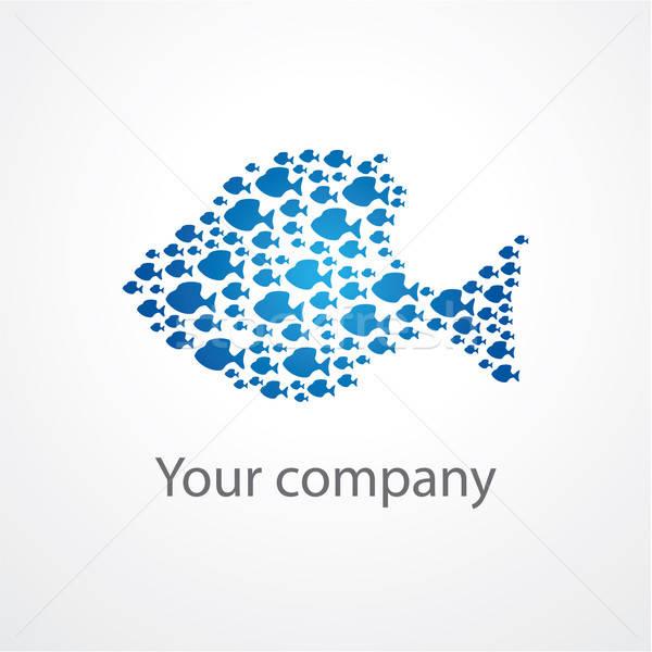 Símbolo companhia peixe azul Foto stock © antoshkaforever