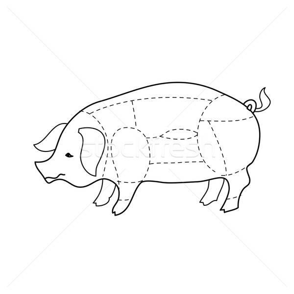 Carne de porco comida compras porco silhueta branco Foto stock © antoshkaforever