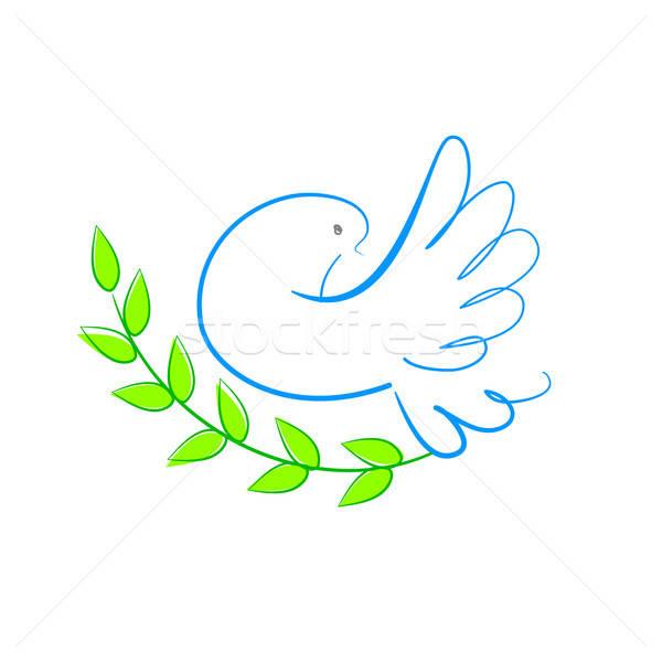 Paz pomba símbolo mundo folha beleza Foto stock © antoshkaforever